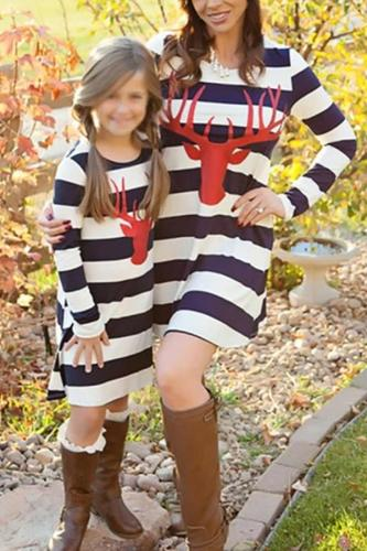 Parent-child Dress Striped Deer Head Long-sleeved Dress