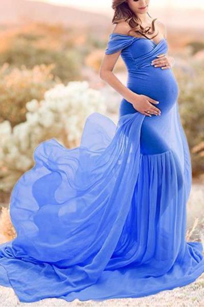 Maternity One-Shoulder Short Sleeve Full Length Gown