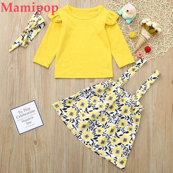 Baby Girl  Solid Tops Overalls Floral Skirt Headbands Clothes Outfits