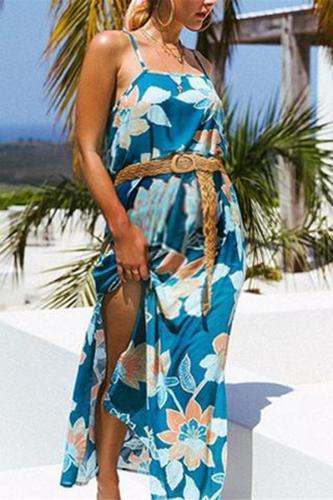 Maternity Floral Print Split Slip Dress