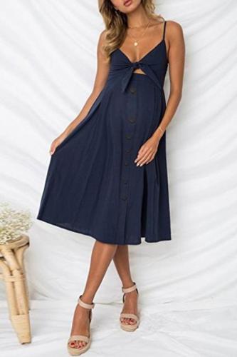 Maternity Sling Button Halter Bow Dress