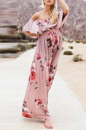 Maternity Sweet word collar pink print trumpet sleeve dress
