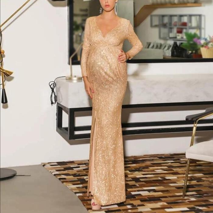 Maternity Elegant V-Neck Paillette Long Sleeve Slit Dress