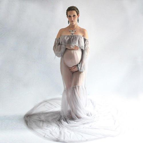 Maxi Pregnancy Gown Mesh Clothes Maternity Dress Fancy Shooting Dress