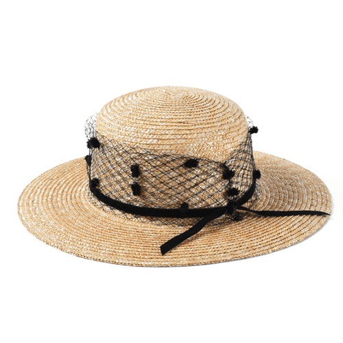 Vintage Wind Mesh Flat Top Straw Hat