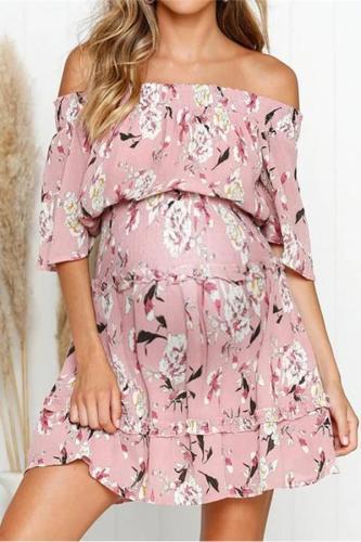 Maternity Sexy word collar cropped sleeves high waist chiffon print dress