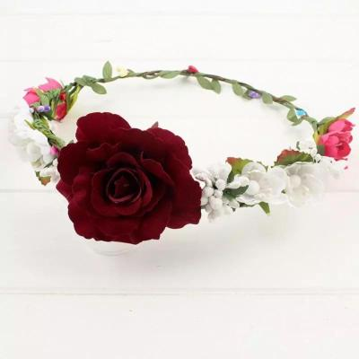 Bohemia Headdress Rose with Leaves hairband Bride Bride Bride flower girl Wedding Garland