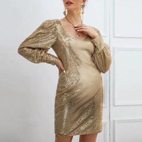 Maternity Modern V Neck Sequin Dress