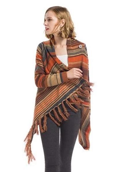 Pregnant Women Cardigan Poncho Tassel Sweater Coat
