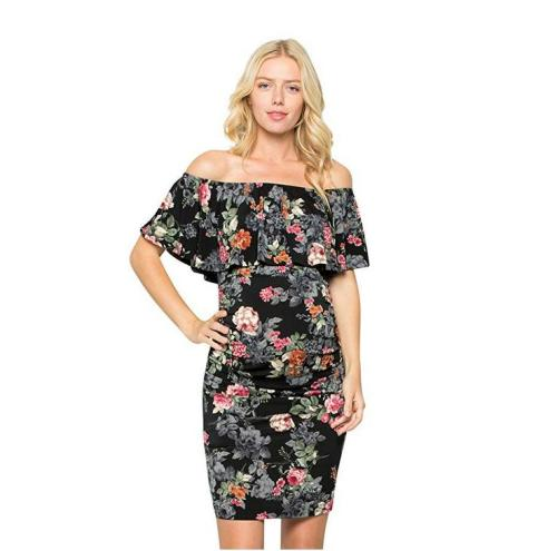Off shoulder sexy off back print Maternity Floral dress
