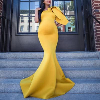 Maternity Fashion Pure Colour Sloping Shoulder Dress