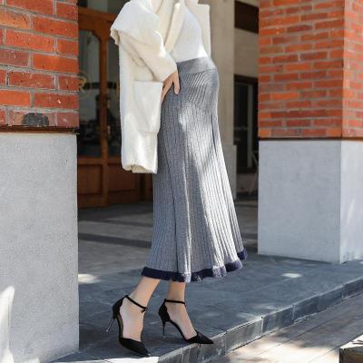 Maternity Casual Knit Splcing Skirt