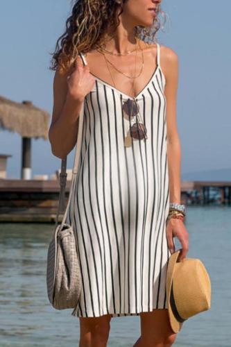 Sexy V Neck Sleeveless Stripe Off-Shoulder Dress