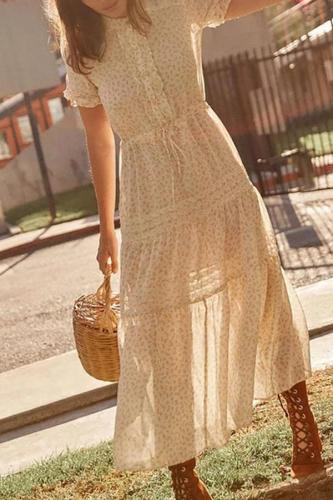 Stitched wooden ear lace maternity dress