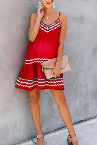 Maternity Casual Printed Spaghetti Strap Dress