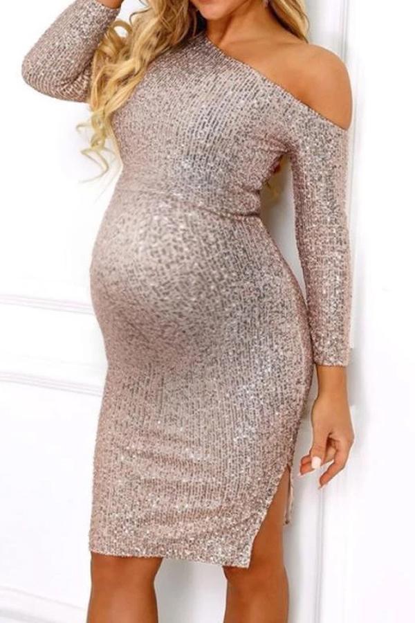 Maternity fashion diagonal split dress