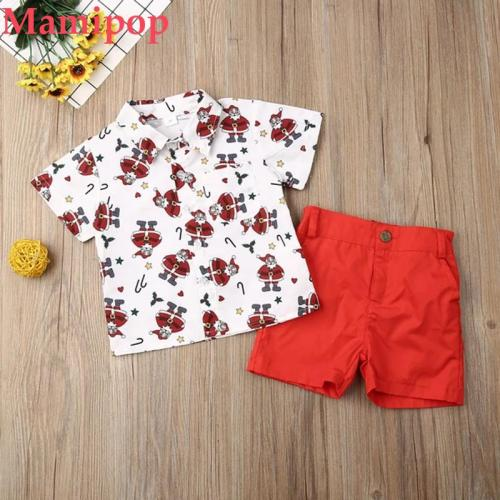 Baby Boy 1-6Y Clothes Sets Christmas Santa Tops Shirt Shorts Pants