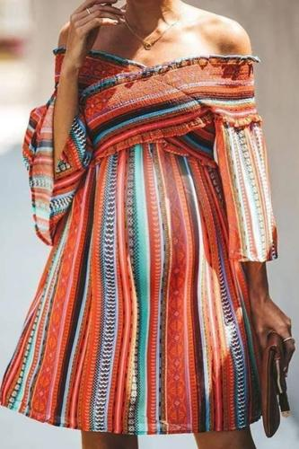 Maternity Bohemian Temperament Striped Dress