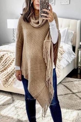 Maternity Irregular Hem Tassel Solid Color Sweater