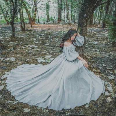 Fashion Word Collar Puff Sleeve Waist Maternity Dress