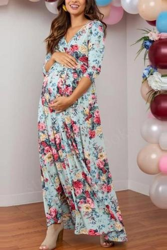 Maternity Casual V-neck colorblock print cropped sleeve dress