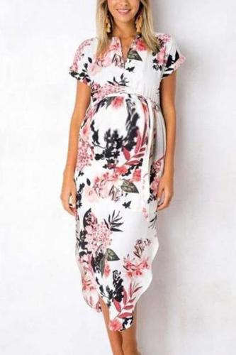 Maternity V-Neck Short Sleeve Printing Casual Dress