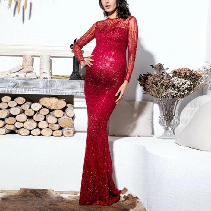 Maternity sexy round neck mesh dress