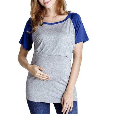 Nursing Top Women Summer Short Sleeve Patchwork Breastfeeding Loose T Shirt