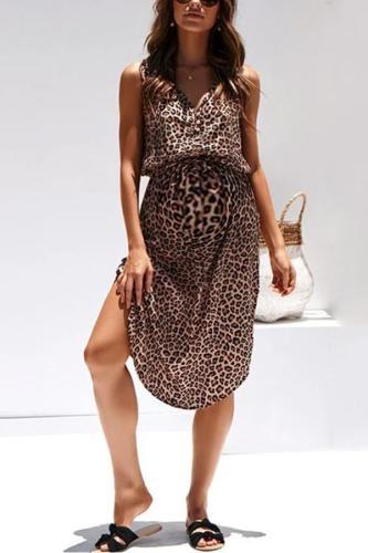 Maternity Leopard Print Waist Dress