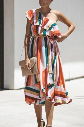 Maternity Stripe One-Shoulder Dress