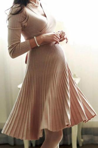 Maternity Sexy V-Neck Solid Pleated Knitted Skater Dress
