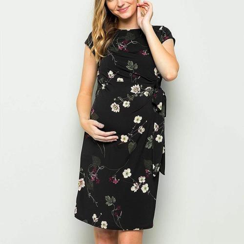 Maternity O-Neck Printing Tie Casual Dress