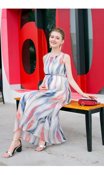 Chiffon Striped Maternity Maxi Dress Beach With Sashes