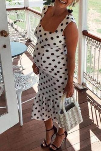 Maternity Pollka Dot Vest Midi Dress