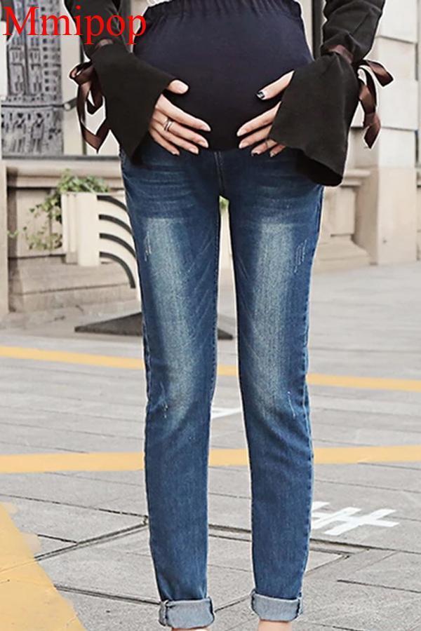 Elastic Waist Hole Stretch Denim Maternity Belly Jeans