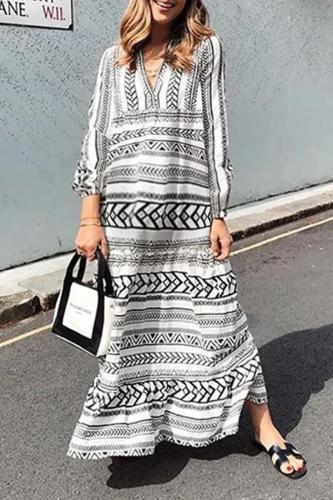 Maternity Long Sleeve Printed Colour Loose Dress