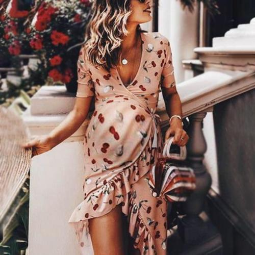 Maternity Casual Skew Collar Printed Color Short Sleeve Belted Irregular Hem Dress