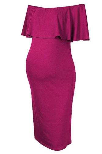 Summer Women's Breastfeeding Off Shoulder Ruffles Pink Solid Nursing Dress