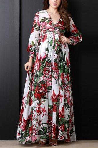 Maternity V Neck Printed Colour Long Sleeve Dress