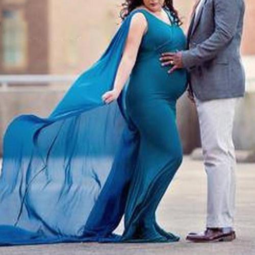 Maternity Mesh Pure Color V Neck Sleeveless Dress