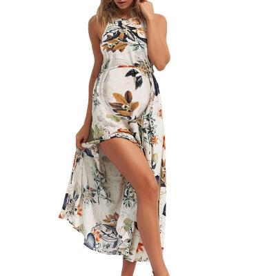 Maternity Halter Sleeveless Floral Print Dress