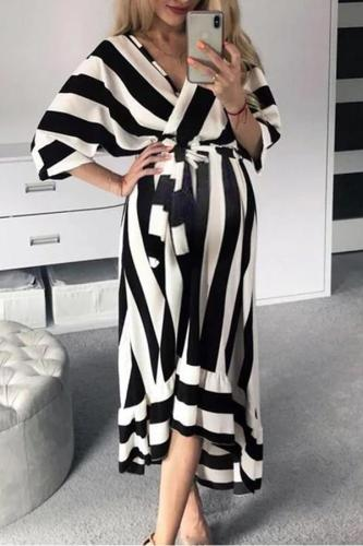 Maternity Surplice Stripe Loose Casual Dress