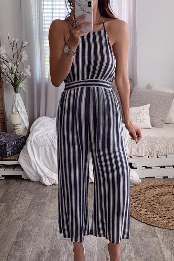 Maternity Halter Halter Sleeveless Striped Jumpsuit
