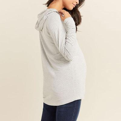 Long Sleeve Stripe Crossed Maternity Nursing Sweater Hoodie