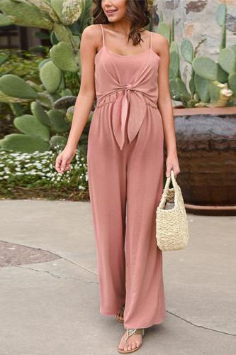 Maternity Sling Open Back Loose Tie Jumpsuit