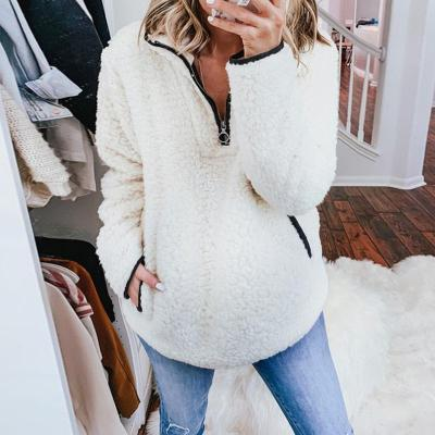 Maternity Zipper Pure Color Long Sleeve Sweater