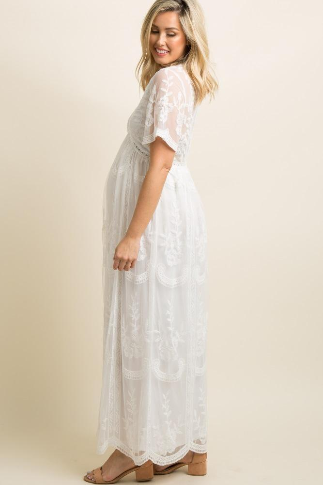 Lace Casual White Maternity Dresses For Photo Shoot