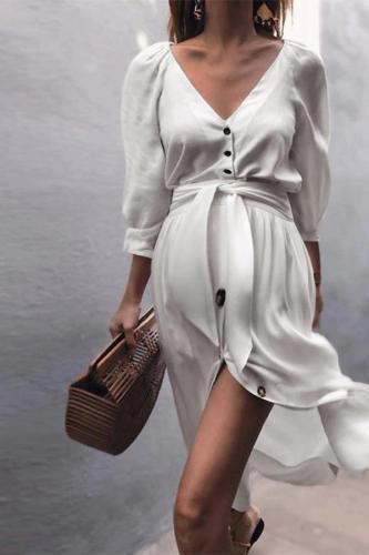 Maternity Lace-Up Sleeve Dress