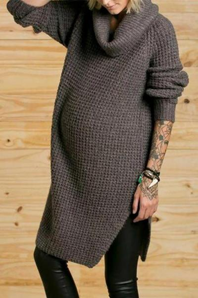 Maternity Caual Pure Color Long Sleeve Sweater