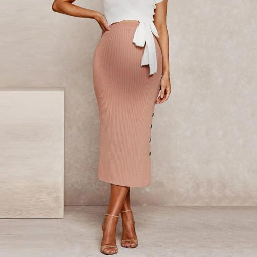 Maternity Casual Pink Side-breasted Knit Sash Split Skirt